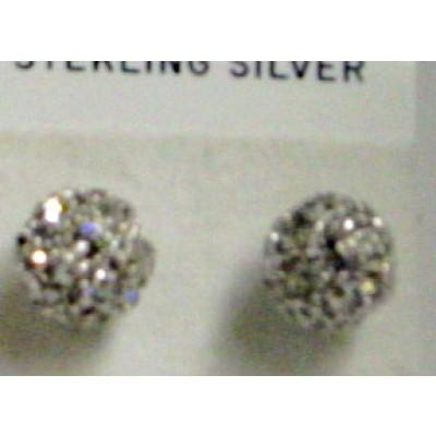 Sterling Silver Earring Fire Ball Clear 10X10mm