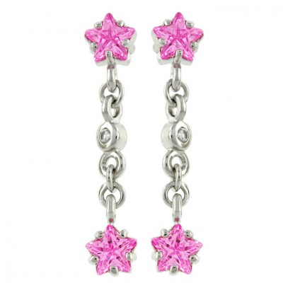 Sterling Silver Earring Dangln Star in The End Pink Cubic Zirconia