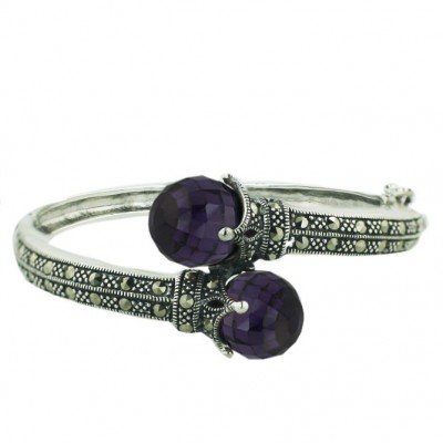 Marcasite Bangle Oppositive 12mm Amethyst Cubic Zirconia Balls Broilette