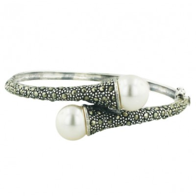 Marcasite Bngl 12mm Oppositive White Faux Pearl with Pave Marcasite
