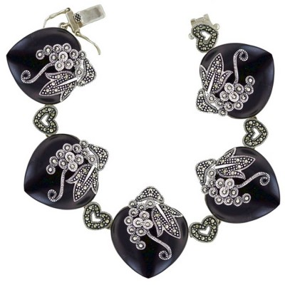 Marcasite Bracelet 8 In. 5 25X25mm Onyx Heart with Pave Marcasite Flower