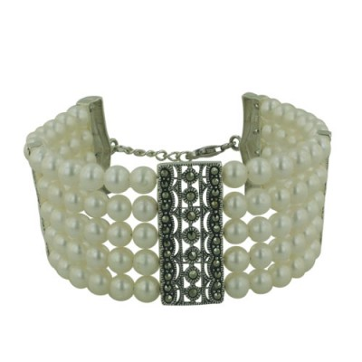 Marcasite Bracelet 5 Lines of Fresh Water Pearl with Marcasite Intervals