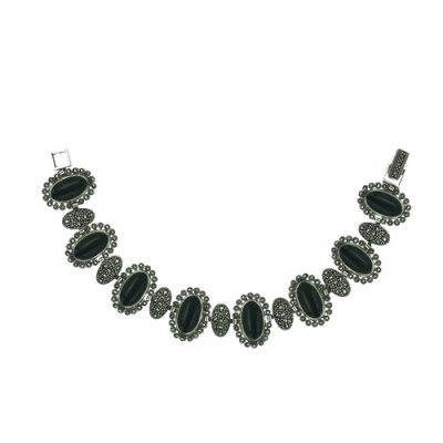 Marcasite Bracelet 7 Oval Marcasite+8 Oval Onyx with Marcasite A