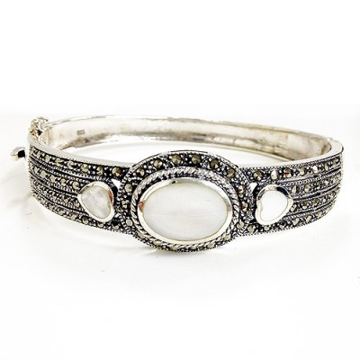 Marcasite Bangle 10X14mm Oval 6X7.5 Heart Mother of Pearl Linked Marcasite E