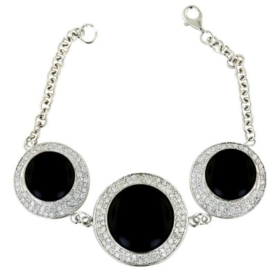 Sterling Silver Bracelet 8 In. 29mm+2 25mm Onyx Round with Clear Cubic Zirconia Aroun