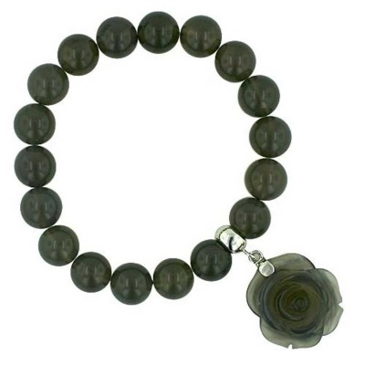 Sterling Silver Bracelet Stretchy 8mm Grey Agate Beads with 25mm Ro