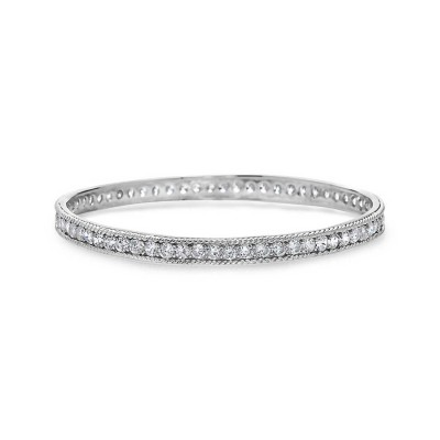 Sterling Silver Bracelet Channel Setting with Clear Cubic Zirconia Grainy Edge