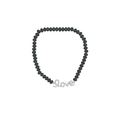 """Sterling Silver Bracelet Clear Cubic Zirconia """"Love"""" Stretch Rhodium Plating Plated"""