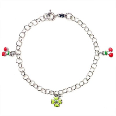 SS Kids Brlt Enamel Green Flwr+Red Cherry Dangling, Multicolor