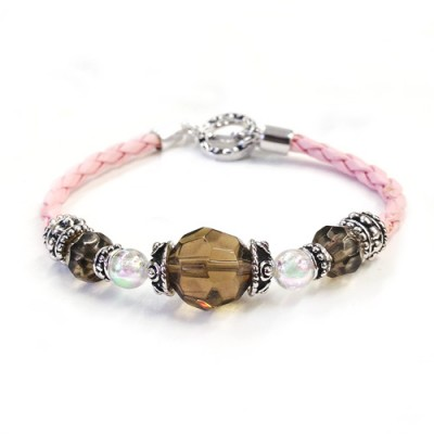 Sterling Silver Bracelet Smoky+Opal Glass Bead with Pink Leather
