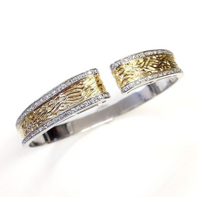Sterling Silver Bangle Two Tone Gold Patten with Clear Cubic Zirconia on Side