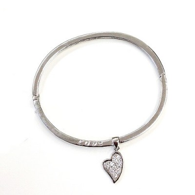 """Sterling Silver Bangle Plain with """"Love"""" + Clear Cubic Zirconia Heart Charm"""