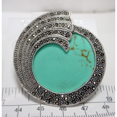 Marcasite Pin Faux Turquoise Swirl