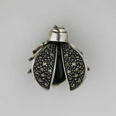 Marcasite Pin Onyx Bug Motion Wing