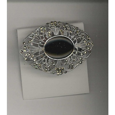 Marcasite Pin Oval Onyx 17X22 Victorian
