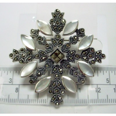Marcasite Pin 8 White Mother of Pearl Inlay Marquis Filigree Leaf Square
