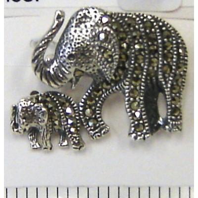 Marcasite Pin Mom+Child Elephant