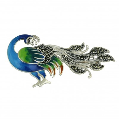 Marcasite Pin Blue and Green Enamel Peacock