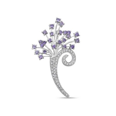 Sterling Silver Pin Ame Cubic Zirconia+Clear Cubic Zirconia Flower Bouquet