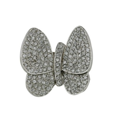 Sterling Silver Pin Pave Clear Cubic Zirconia Butterfly