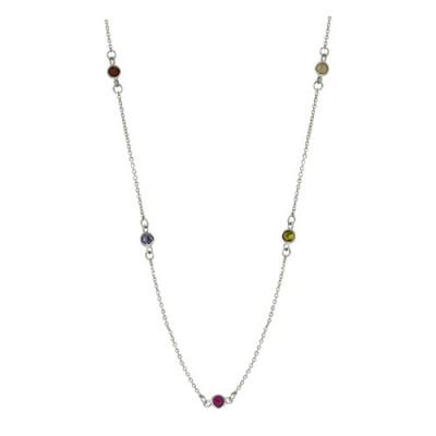 Brass Necklace 20'' 9 Station 4Mm Mutli Color Cz