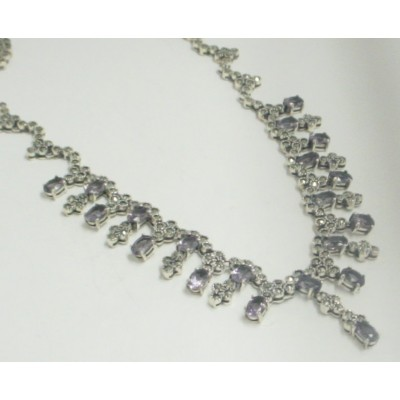 Marcasite Necklace Cluster with Oval Amethyst Crylst 20 Pcs