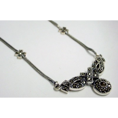 """Marcasite Necklace """"+,O"""" Foxtail Chain"""
