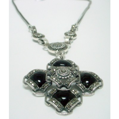 Marcasite Necklace 4 Square Onyx with Braided