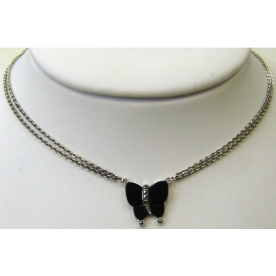 Marcasite Necklace Onyx Butterfly with Double Strand Chain