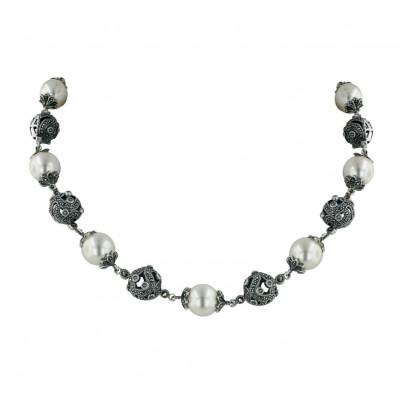 Marcasite Necklace 16.5'' Quadruple 13mm White Faux Pearl