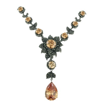Marcasite Necklace Champagne Cubic Zirconia Round Dome Chess Cut with Garnet Cubic Zirconia Tear Drop+