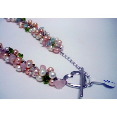 Sterling Silver Necklace Cluster F.with .P Pink Peach. Gem Stones C