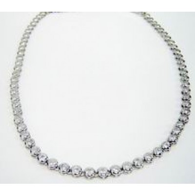 Sterling Silver Necklace Clear Cubic Zirconia Bbb
