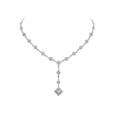 Sterling Silver Necklace Y Open Diamond Shaped Chain with 5X5mm P