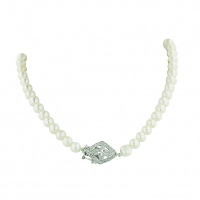Sterling Silver Necklace 1 Strand (6-8mm) White Fresh Water Pearl with Open Clear C