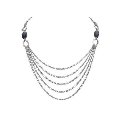 Sterling Silver Necklace 18'' +Plain Twisted Oval with 5 Layer Chain with