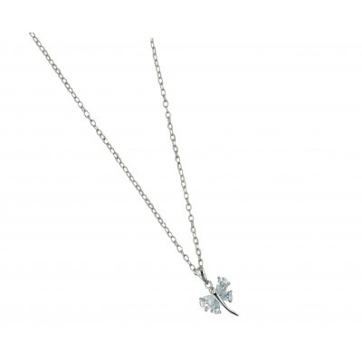 Sterling Silver Necklace 16 In. Clear Cubic Zirconia Dragonfly with 8 Prongs--Rhodium Plating/Nickle Free-