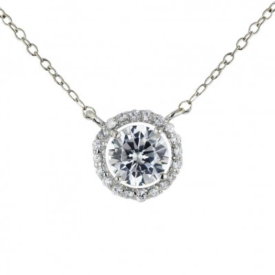 Sterling Silver Necklace 16 in 11mm Clear Cubic Zirconia Round with 4 Prongs--Rhodium Plating/Nickle Free-