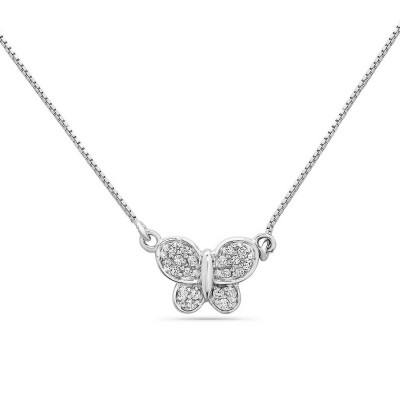 Sterling Silver Necklace 18 In. Clear Cubic Zirconia Butterfly with Box Chain--Rhodium Plating/N