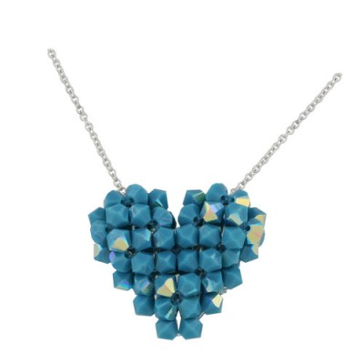 Sterling Silver Necklace 16'' 4mm Swarovski Bicone Turquoise AB color Cyrstal Cry