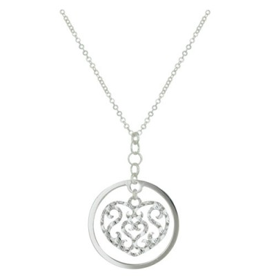 Sterling Silver Necklace 18 Inch Chain with 42mm Flat Circle+32