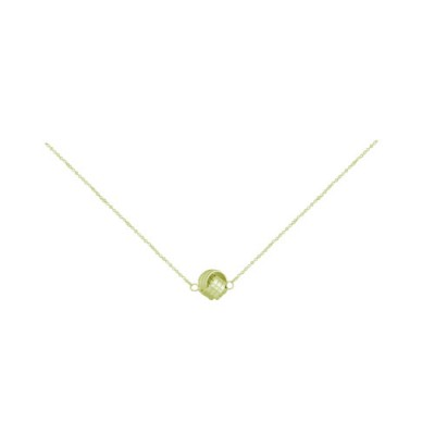 """Sterling Silver Necklace Love Knot Chain .25 mm 16+2"""" -Gold Platin"""