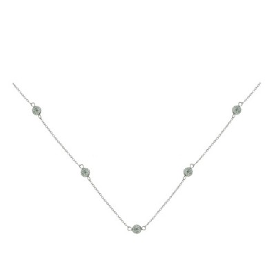 Sterling Silver Necklace 5-6mm Fireball on Chain Clear Cy