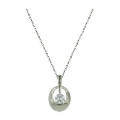 Sterling Silver Necklace Open Oval Dome 5mm Clear Cubic Zirconia in Center