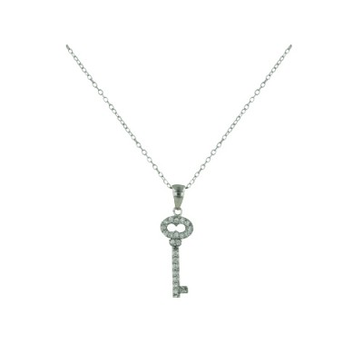 Sterling Silver Necklace 20mm Key Open Oval Top with Clear Cubic Zirconia