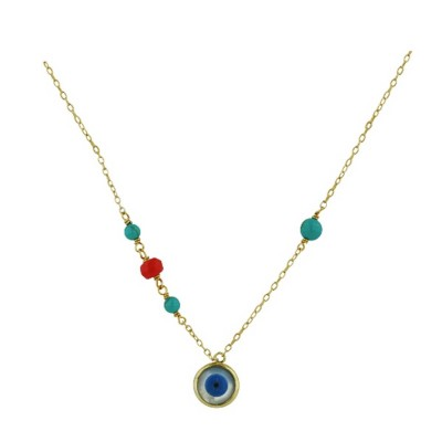 Sterling Silver Necklace Mother of Pearl Eye with Re-Con Turquoise+Sea Bamboo Bead