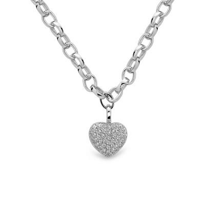 Sterling Silver Necklace Paved Geart Locket Filigree Back