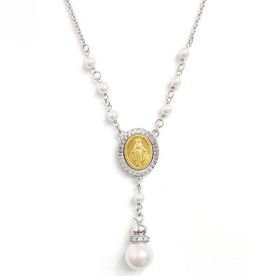 Sterling Silver Necklace Rosary Faux Pearl Drop 2 Tones-Gd+Rhodium Plating
