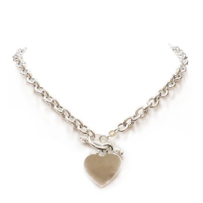 Sterling Silver Necklace Rolo Thick Chain Heart Charm