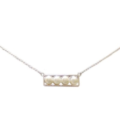 Sterling Silver Necklace Four 6mm Fresh Water Pearl on Plain Bar -Rhodium Plating Plating